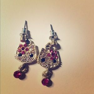 Kate Spade crystal kitty earrings